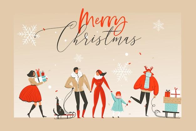 Zabawa wesołych świąt czas ilustracji pozdrowienia z szczęśliwych ludzi xmas i czerwoną wstążką z typografią boże narodzenie na białym tle na tle rzemiosła