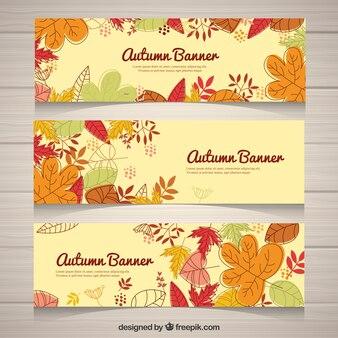 Zabawa zestaw ręcznie narysowanych banerów na jesieni
