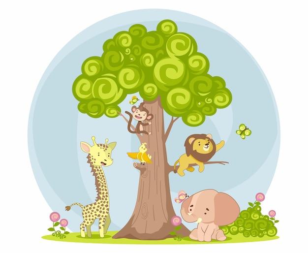 Zabawa zwierząt na drzewie