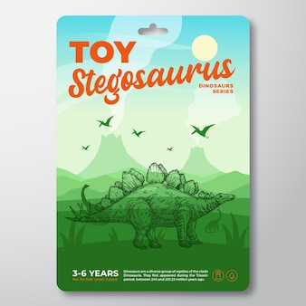 Zabawka dinozaur szablon etykiety streszczenie wektor opakowania projekt układ nowoczesna typografia z prehistory...