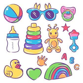 Zabawka dla dziecka na białym tle. ilustracji wektorowych. zestaw zabawek dla dzieci.