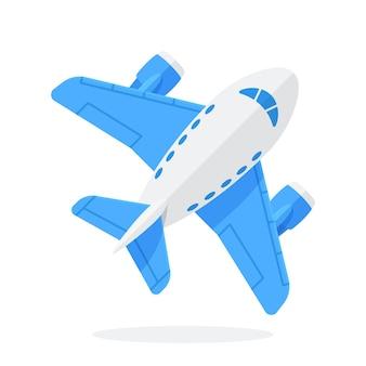 Zabawka niebieski samolot w widoku z góry podróż samolotem ilustracja wektorowa