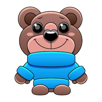 Zabawka pluszowego misia w niebieskim swetrze w stylu kreskówki