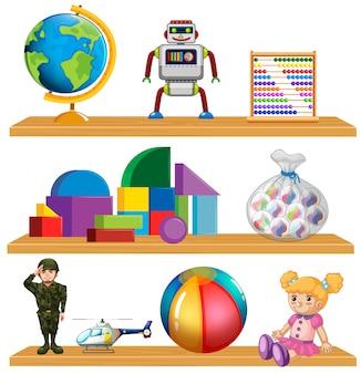Zabawki dla dzieci na półce