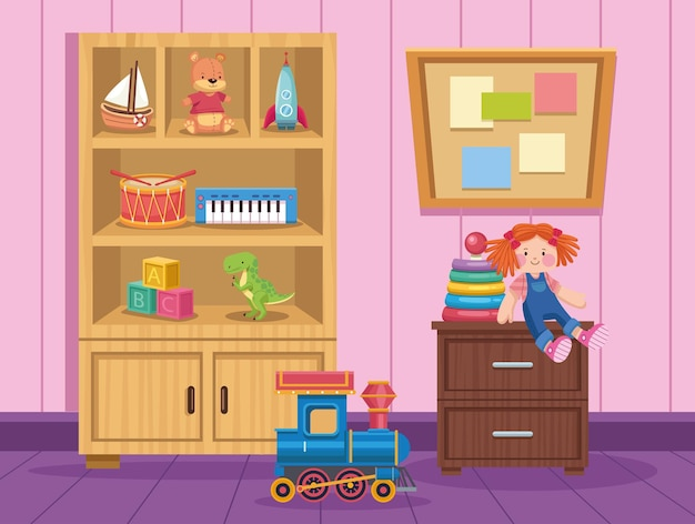Zabawki dla dzieci w pokoju zabaw