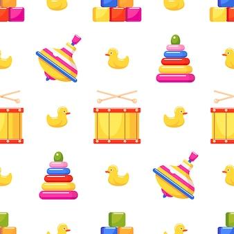 Zabawki dla dzieci wzór z zabawkami w kształcie piramidy bęben wirowy i gumowa kaczka