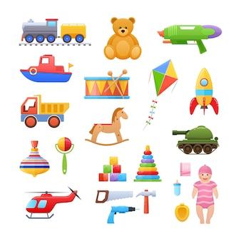 Zabawki dla dziecka do zabawy ilustracja na białym tle