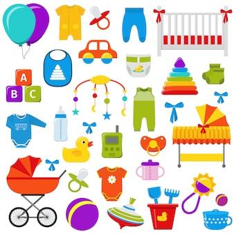 Zabawki dla niemowląt zestaw ilustracji.