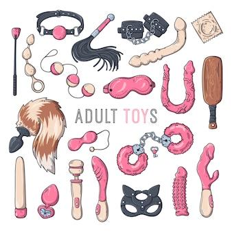 Zabawki erotyczne dla dorosłych. akcesoria do gier erotycznych. ilustracji wektorowych.