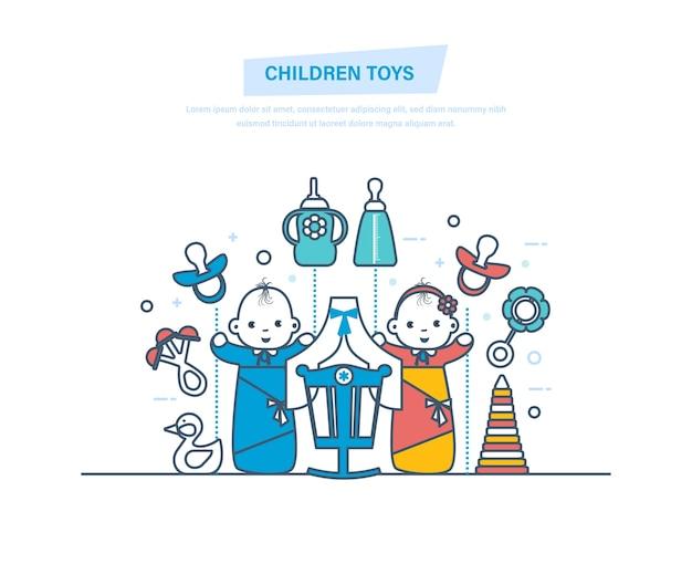 Zabawki i akcesoria dziecięce dla nowonarodzonego chłopca i dziewczynki z cienkiej linii.