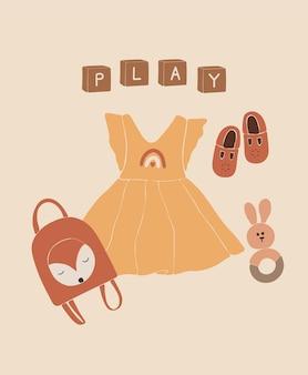 Zabawki i ubrania dla dzieci boho, abstrakcyjne zabawki dla dziewczynki.
