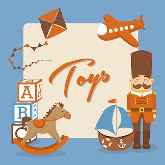 Zabawki ikony na niebieskim tle ilustracji wektorowych