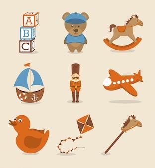 Zabawki ikony na różowym tle ilustracji wektorowych