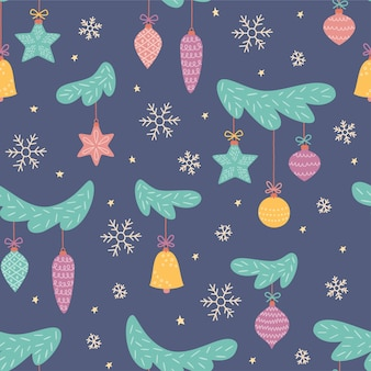 Zabawki na choinkę. bale noworoczne. wzór na świąteczne dekoracje.