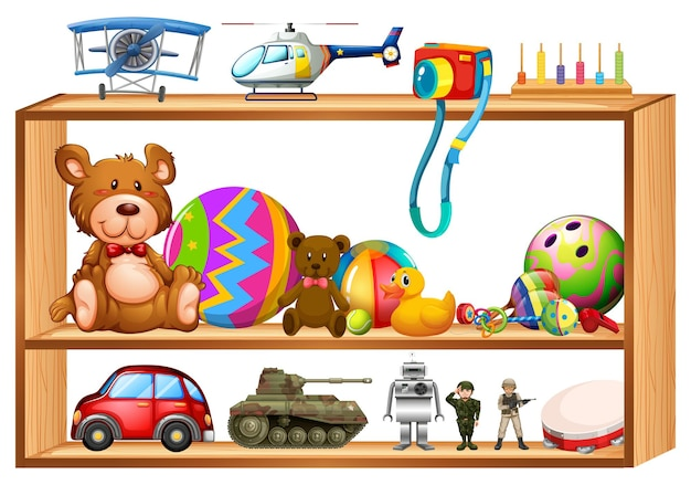 Zabawki na drewnianych półkach