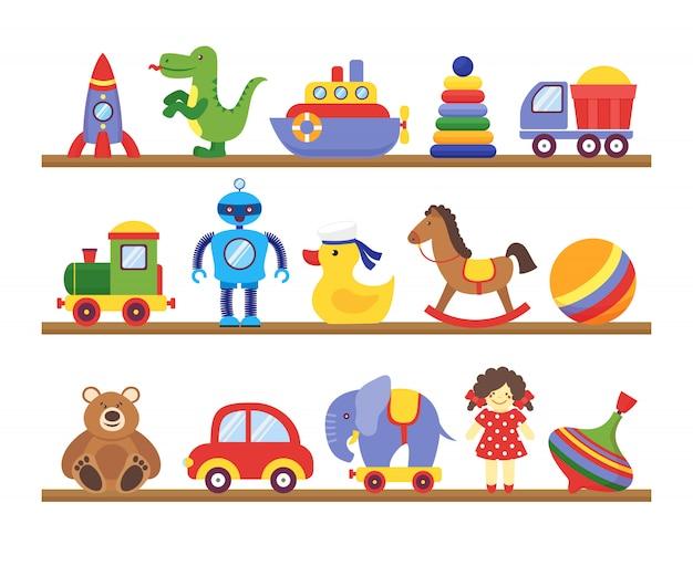 Zabawki na półkach. kreskówki zabawka na dziecku robi zakupy drewnianą półkę. dinozaur robota samochód lalka na białym tle wektor