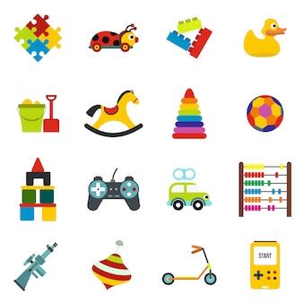 Zabawki płaskie elementy zestaw na białym tle