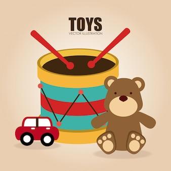 Zabawki projektują nad beżową tło wektoru ilustracją