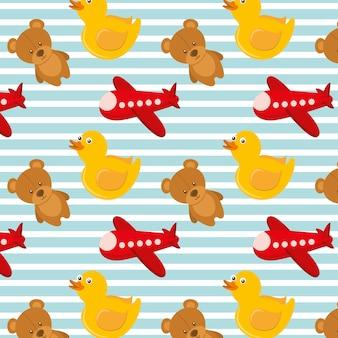 Zabawki samolot teddy i gumowe kaczki tło