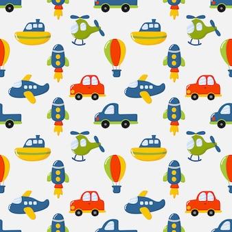 Zabawki transportowe bez szwu wzór kreskówki. samochody, łódź, helikopter, rakieta, balon i samolot