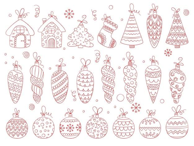 Zabawki zimowe. bombki choinkowe świąteczne dekoracje ozdobne gwiazdki i płatki śniegu bąbelki i dzwonki wektor ręcznie rysowane zestaw. boże narodzenie zimowe zabawki do dekoracji ilustracji