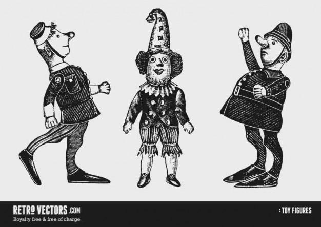 Zabawkowe figurki: żołnierz, clown, policjant