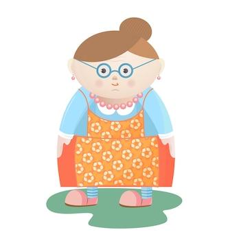 Zabawna babcia w okularach z perłowymi koralikami i kolczykami w fartuchu w kwiaty.