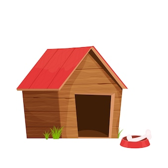 Zabawna drewniana buda dla psa w stylu kreskówki