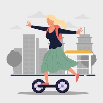 Zabawna dziewczyna jeżdżąca kreskówka hoverboard