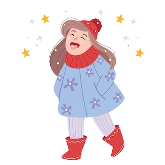 Zabawna dziewczyna łapie śnieg językiem. gra na świeżym powietrzu. zabawna postać z kreskówki.