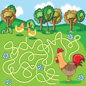 Zabawna gra labirynt-rysunek kurczaka w stylu farmy-ilustracja wektorowa