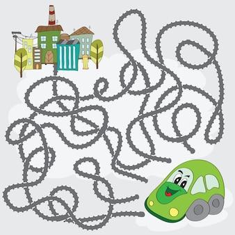 Zabawna gra labiryntowa - pomóż samochodowi znaleźć drogę do miasta