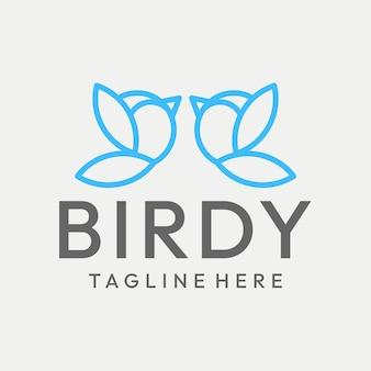 Zabawna grafika liniowa ptak logo vector