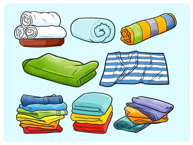 Zabawna i kolorowa kolekcja ręczników w prostym stylu doodle