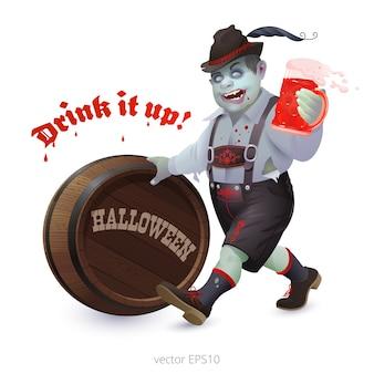 Zabawna i przerażająca postać na halloween z martwą skórą. zombie popycha drewnianą beczkę i trzyma kubek krwi.