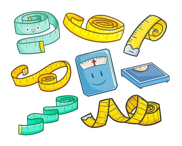 Zabawna i urocza taśma miernicza do ciała w prostym stylu doodle