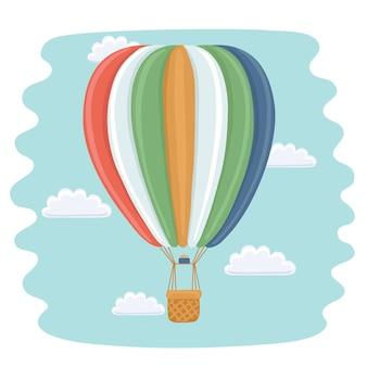 Zabawna ilustracja kreskówka balonu na ogrzane powietrze i chmury