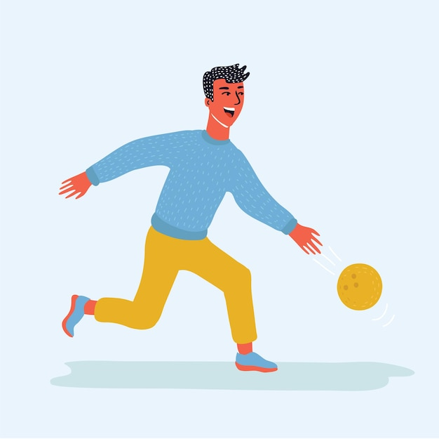 Zabawna ilustracja kreskówka w nowoczesnym stylu szczęśliwy człowiek gra postać z kreskówki kręgle