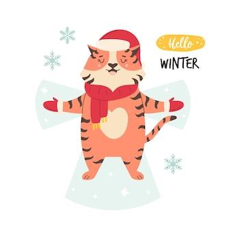 Zabawna ilustracja ładny tygrys w zimowe ubrania co anioł śniegu. grafika wektorowa w nowoczesnym stylu mieszkania. koncepcja ferii zimowych.