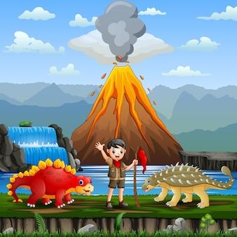 Zabawna ilustracja skauta i dinozaurów nad rzeką