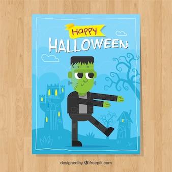 Zabawna karta halloween z zombie