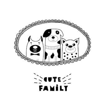 Zabawna karta z uroczymi kotami i napisami śliczna rodzina!