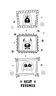 Zabawna karta z uroczymi psami do twarzy i napisami najlepsi przyjaciele!