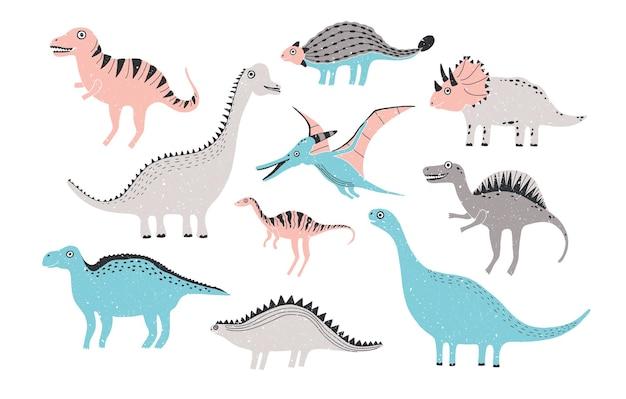 Zabawna kolekcja dinozaurów. słodkie dziecinne postacie w pastelowych kolorach. kolorowe ręcznie rysowane ilustracja.