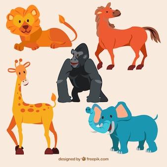 Zabawna kolekcja dzikich zwierząt z płaskim desingiem