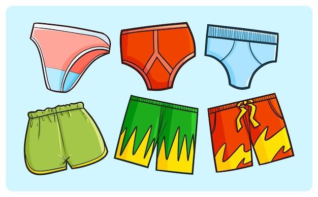 Zabawna kolekcja pod spodniami w prostym stylu doodle