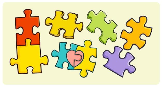 Zabawna kolekcja puzzli w prostym stylu doodle