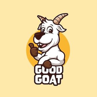 Zabawna koncepcja kreatywna kreskówka logo koza