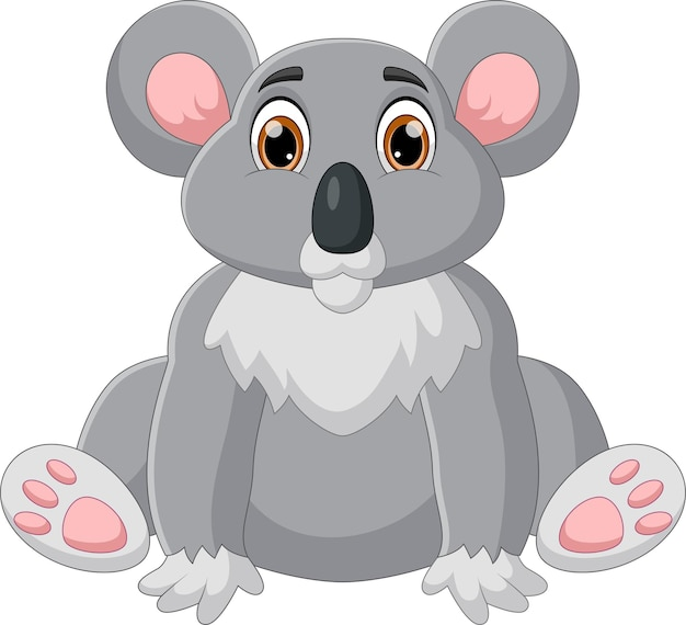 Zabawna kreskówka koala na białym tle