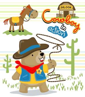 Zabawna kreskówka kowboj